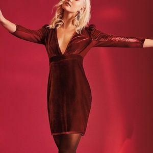 Express Burgundy Velvet Plunging Dress